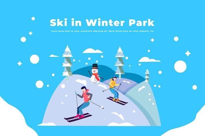 Thumbnail for Ski in Winter Park - Winter Illustration