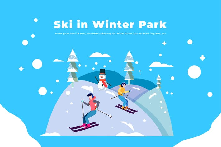Ski im Winterpark - Winterillustration