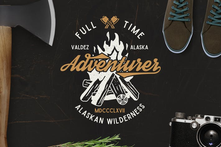 Cover Image For Full Time Adventurer Vintage Logo