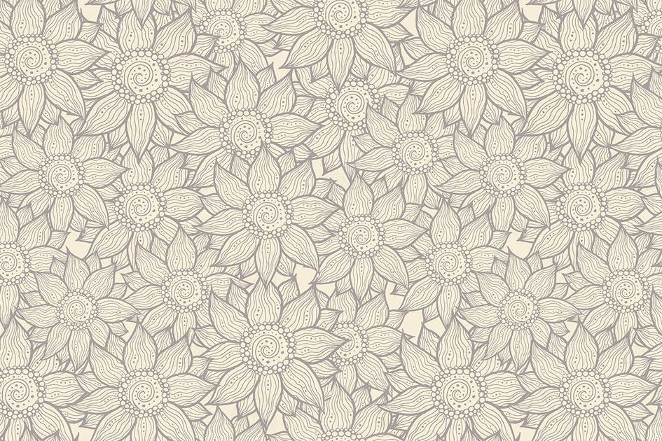Download Illustration of seamless hand-drawn floral pattern by BoykoPictures