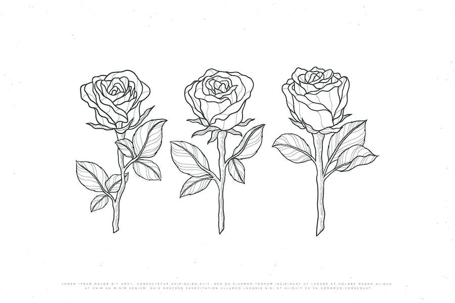 line art rose flower design