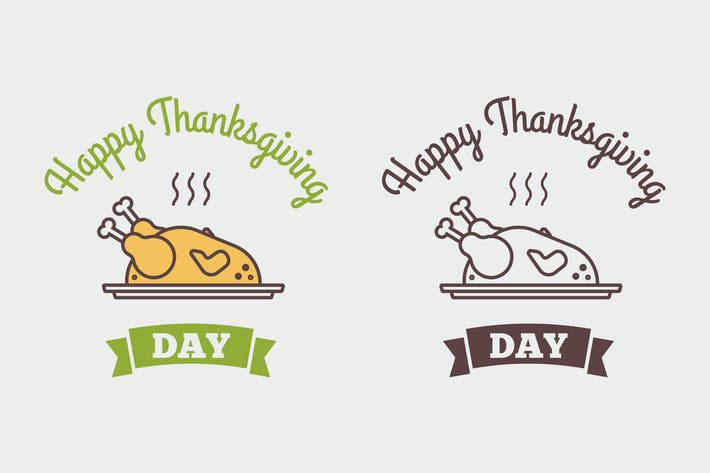 Thumbnail for Flat design style Happy Thanksgiving Day logotype,