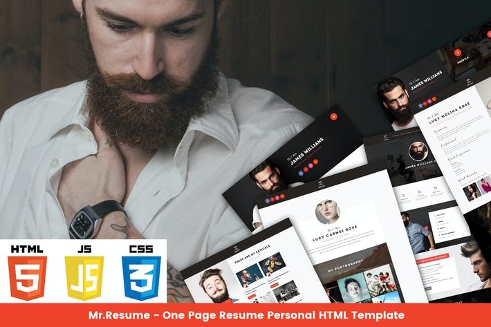 Thumbnail for Mr Resume - One Page Resume Personal HTML Template