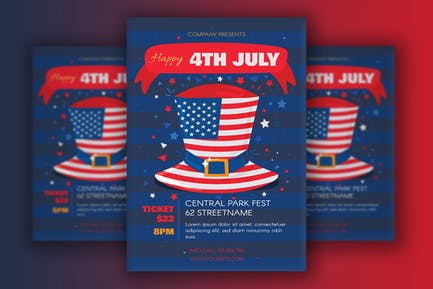 July 4 Poster With USA Hat