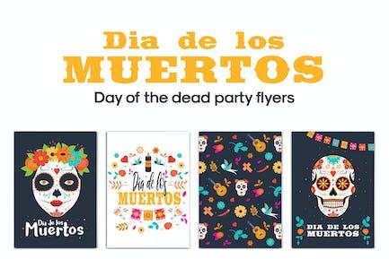 Set von Tag der Toten Party Flyer