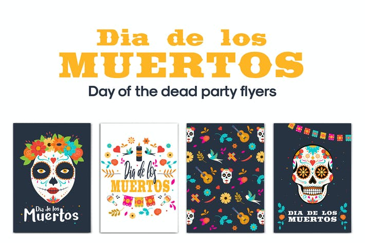 Set of  Day of the Dead Party Flyer