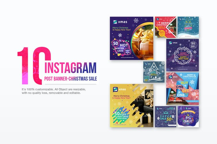 Cover Image For 10 Instagram Post Banner-Christmas Sale