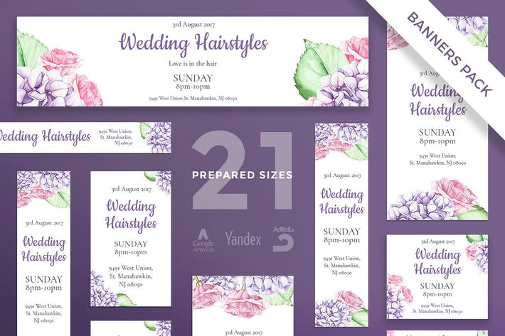 Thumbnail for Wedding Hairstyle Banner Pack Template