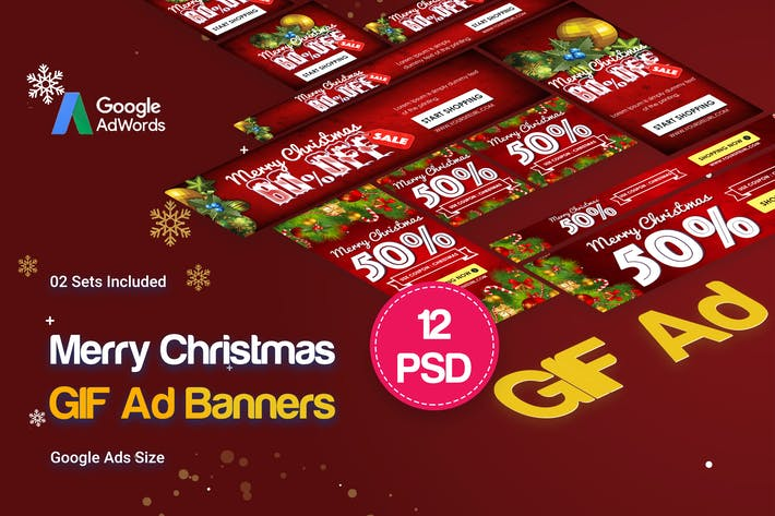 Thumbnail for Merry Christmas GIF Banners Ad
