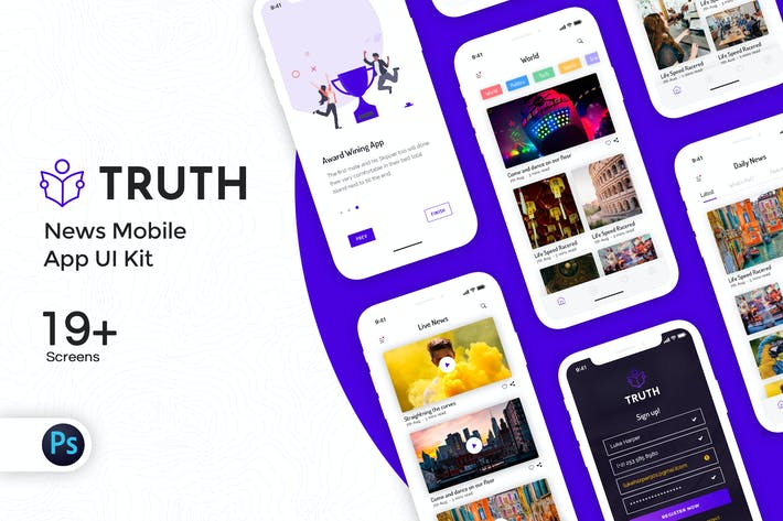Thumbnail for Truth: News Mobile App UI Kit