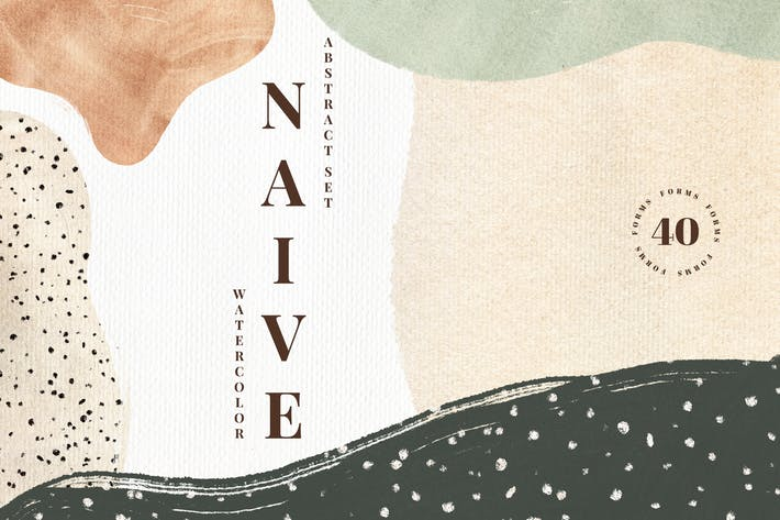 Thumbnail for Naive. Watercolor Abstract Set