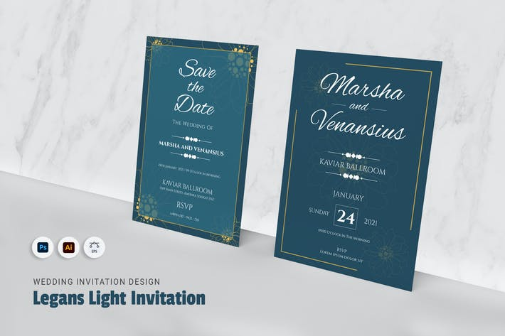 Thumbnail for Legans Light Wedding Invitation
