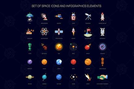 Space Flat Design Icons Set