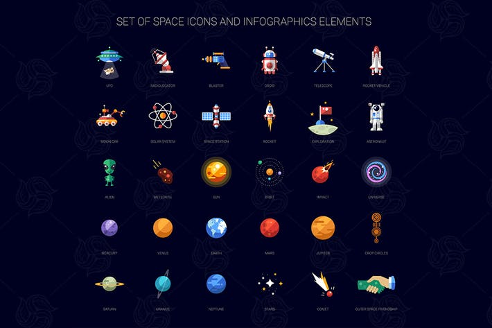 Thumbnail for Space Flat Design Icons Set