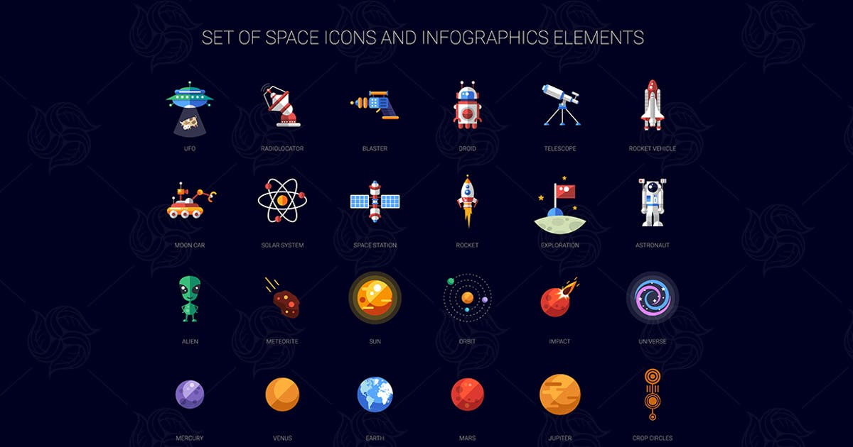 Download Space Flat Design Icons Set by BoykoPictures