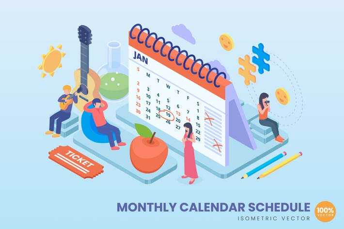 Isometrisches Monatskalender-Konzept