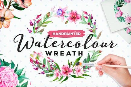 Handbemalter Aquarell Blumenkranz