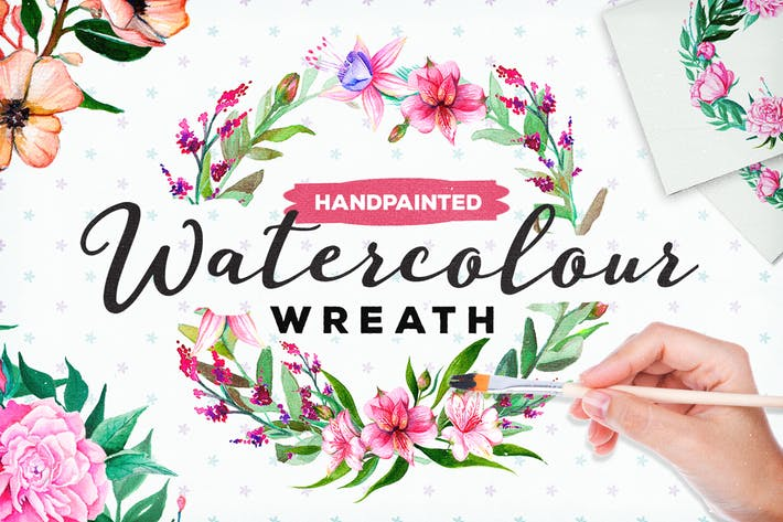 Thumbnail for Handpainted Watercolour Flower Wreath