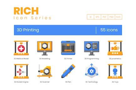 55 3D-Druck-Icons - Rich Series