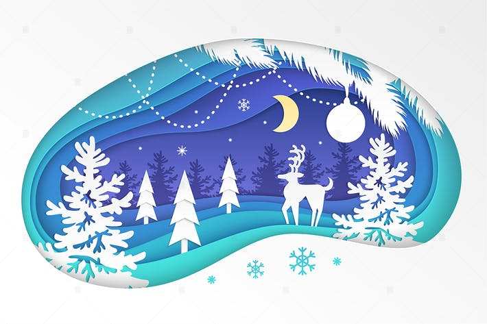 Thumbnail for Winter forest - modern paper cut illustration