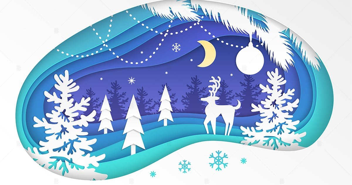 Download Winter forest - modern paper cut illustration by BoykoPictures