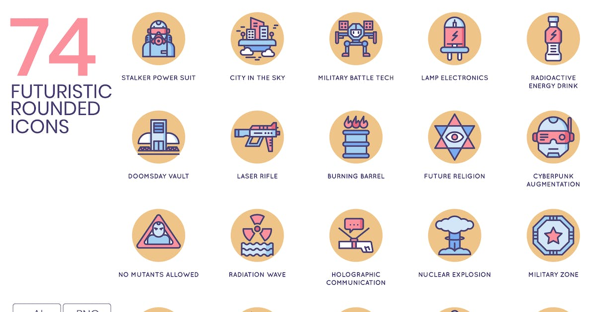 Download Futuristic Rounded Flat Icons by Krafted