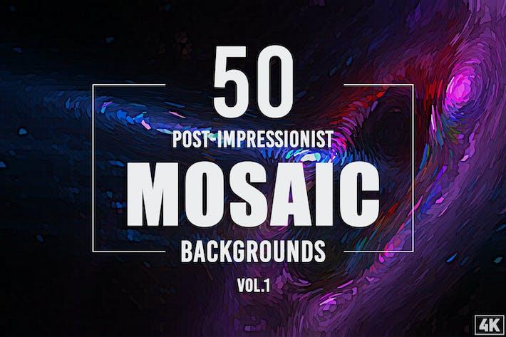 50 Post-impressionistische Mosaik-Hintergründe - Band 1