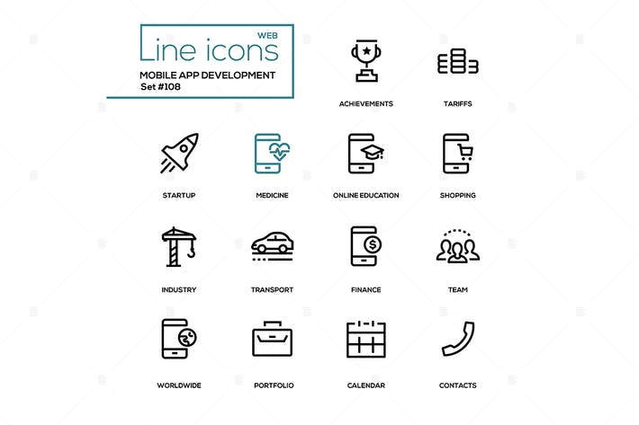 Thumbnail for Mobile app development - modern line design icons