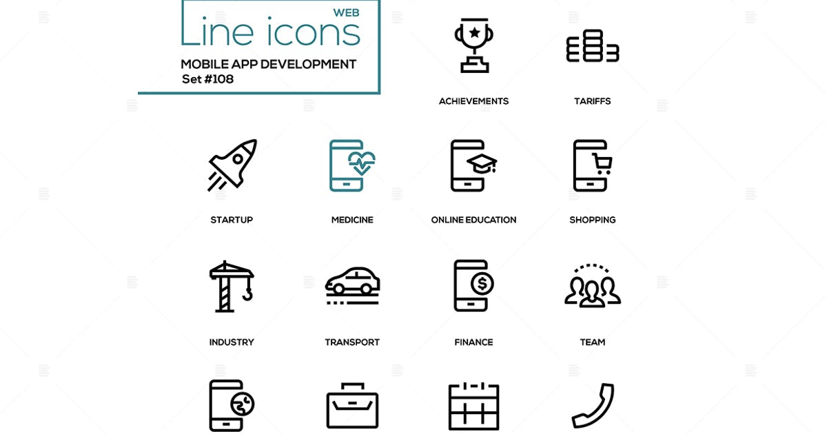 Download Mobile app development - modern line design icons by BoykoPictures