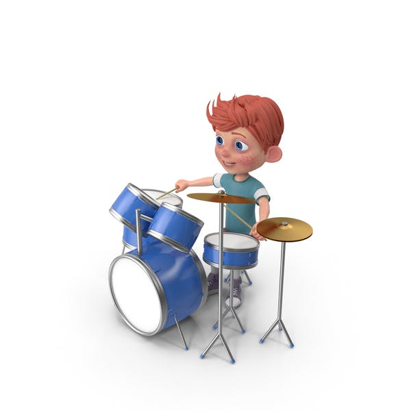 Thumbnail for Cartoon Boy Charlie Playing Drums