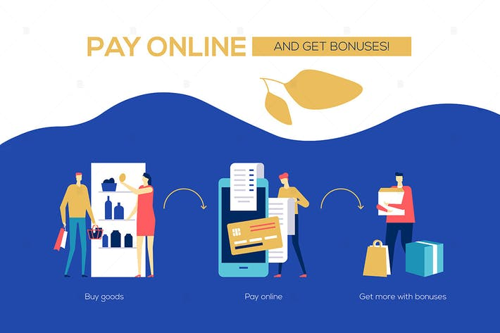 Pay online and get bonuses - flat banner