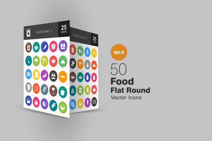 Thumbnail for 50 Food Flat Round Icons
