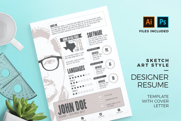 Thumbnail for Sketch Art Style Resume Template & Cover Letter