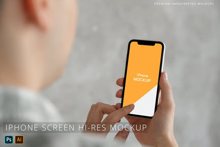 Person Holding iPhone Photo Mockup