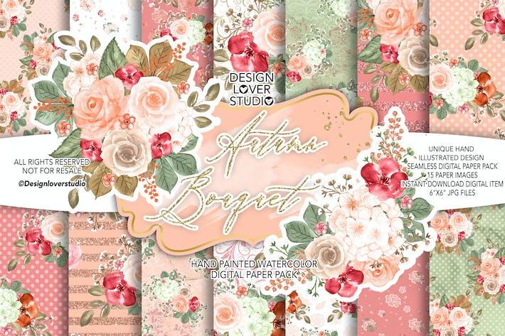 Thumbnail for Autumn Bouquet digital paper pack