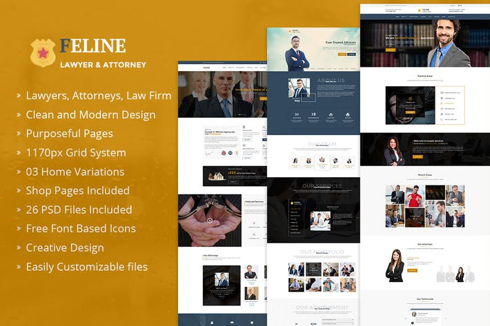 Thumbnail for Feline – Lawyers Attorneys & Law Firm PSD Template