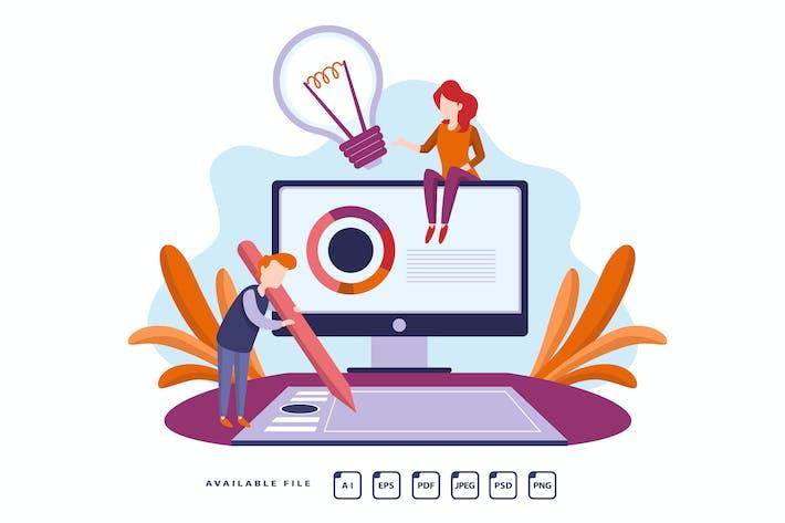 Thumbnail for CREATIVE TEAMWORK - Vector Illustration