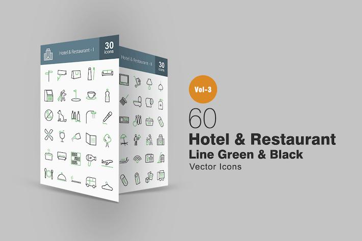 Thumbnail for 60 Hotel & Restaurant Line Green & Black Icons