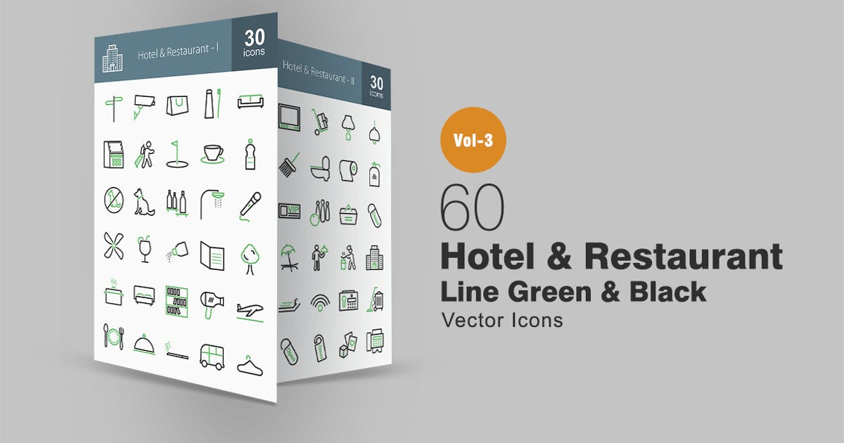 Download 60 Hotel & Restaurant Line Green & Black Icons by IconBunny