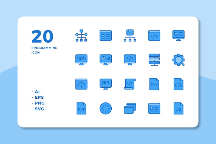 Thumbnail for 20 Programming Icons (Lineal Color)