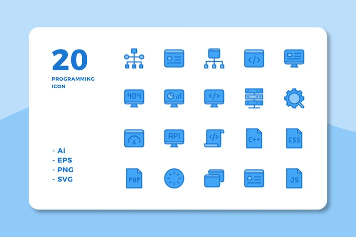 Cover Image For 20 Programming Icons (Lineal Color)
