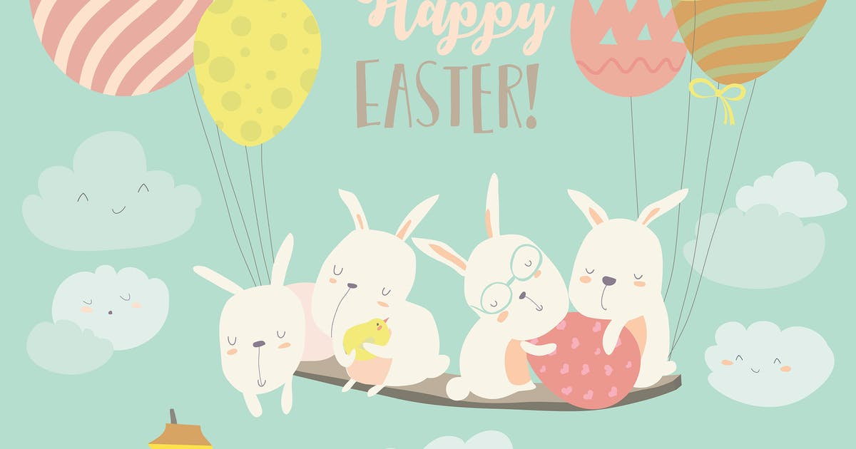 Download Easter bunnies and easter egg. Vector illustration by masastarus