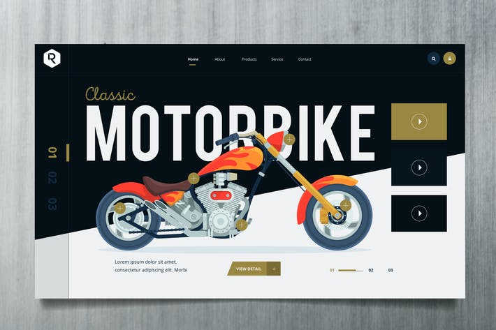 Cover Image For Motorcycle Web Header PSD & Vector Template