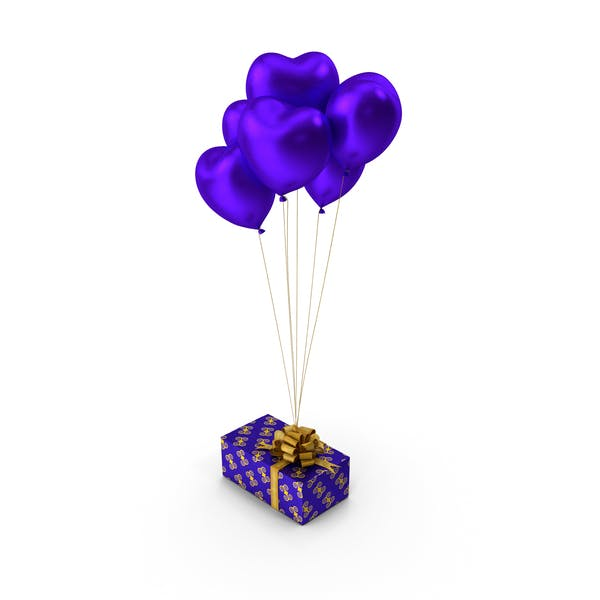 Giftbox Blaue Herzballons