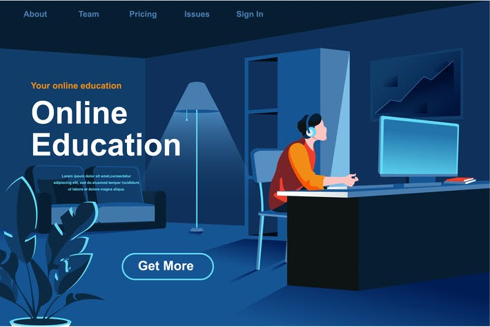Thumbnail for Online Education Isometric Web Page Flat Concept
