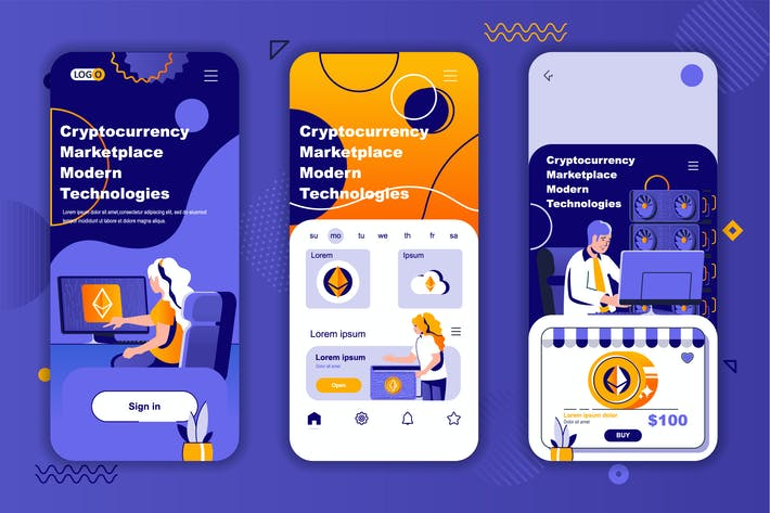 Thumbnail for Crypto Market Instagram Stories Onboarding Screens