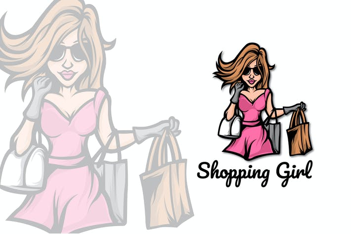 Thumbnail for SHOPPING GIRL MASCOT LOGO TEMPLATE