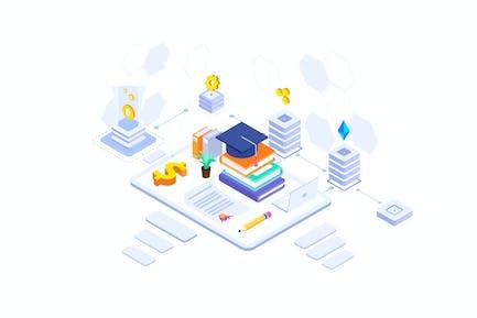 Fund Higher Education Isometric Illustration - FV
