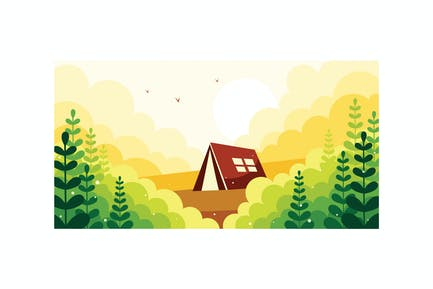 Camping in the wild illustration
