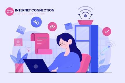 Internet Connection Flat Vector Illustration